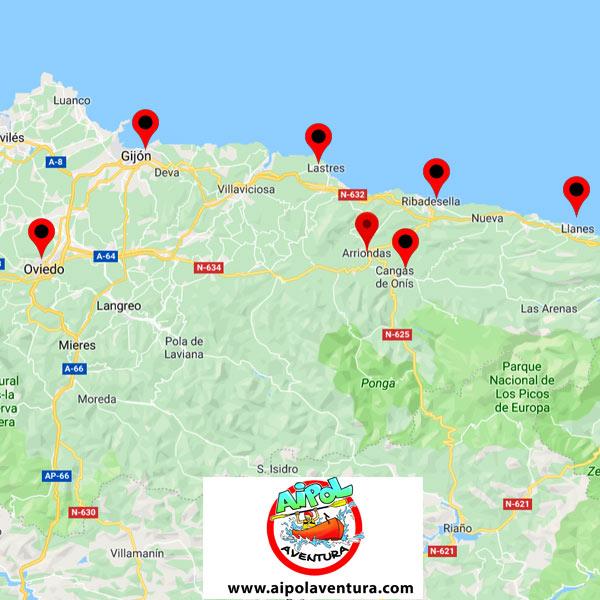 Ubicación de Ribadesella respecto a principales localidades asturianas