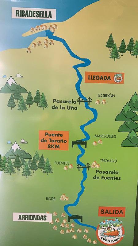 Mapa del recorrido del descenso del Sella desde Arriondas