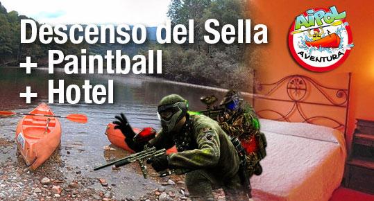 Pack multiaventura Descenso del Sella con Paintball y hotel