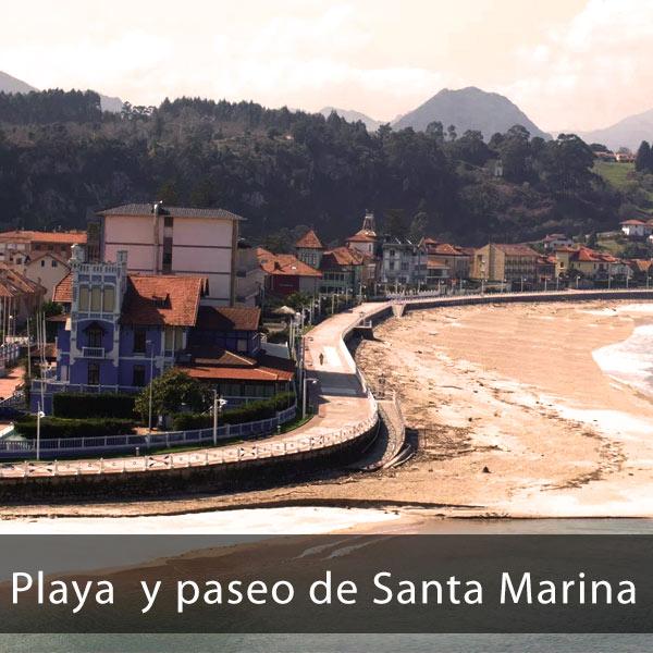Playa y paseo de Santa Marina de Ribadesella